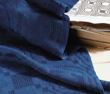 A beautiful indigo-dyed lace runner by  Madelyn van der Hoogt and Suzie Liles  from the September/October 2008 issue.