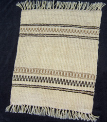 Sara's first handspun weaving