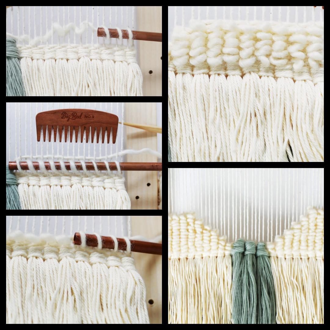 Looping yarn around a dowel creates lots of texture.