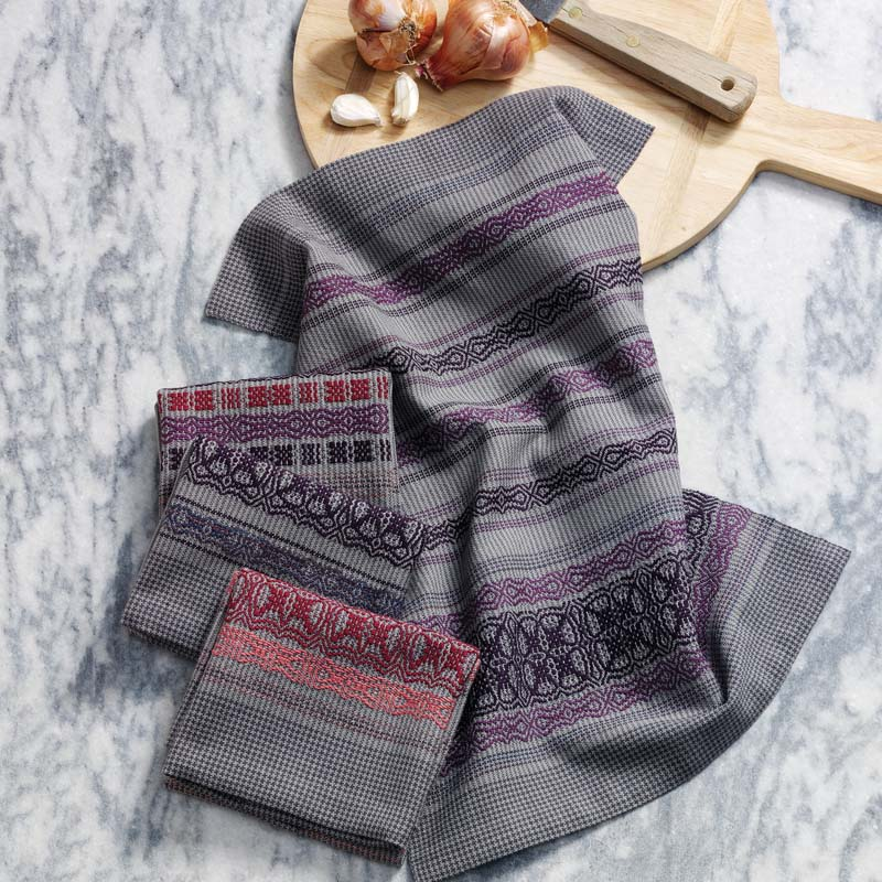 gray and purple kitchen towels