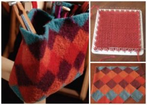 Weave a bag out of pin loom squares and felt them together in this fun, free weaving project.