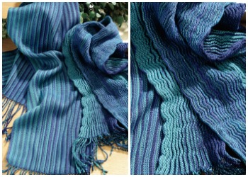 Weaving a scarf on an 8-shaft weaving loom lets you experiment, like with this collapse-weave scarf.