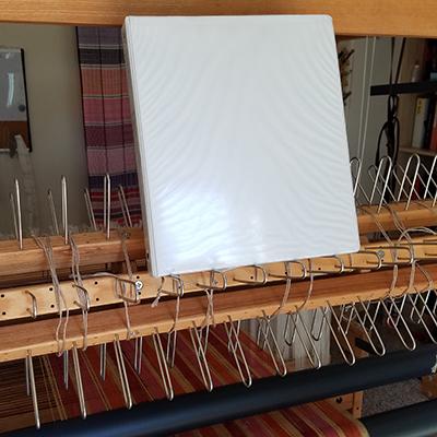 weaving studio bookcase