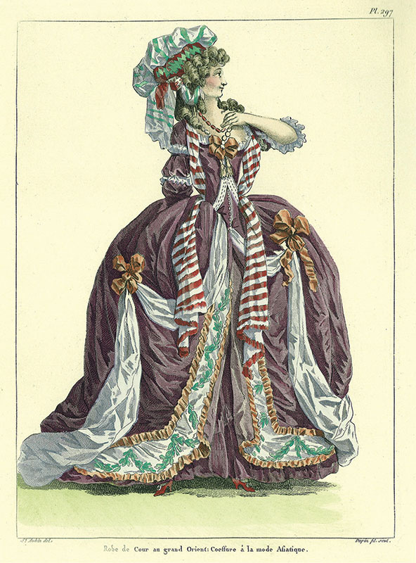 Illustration from Galerie des modes et costumes français, dessinés d'après nature, 1778–1787 by Paul Cornu (published 1912[?]). Collection of the Los Angeles County Museum of Art. (GT865.G3). Photograph courtesy of the Mr. and Mrs. Allan C. Balch Art Research Library, Los Angeles County Museum of Art. Photograph © Museum Associates/LACMA.