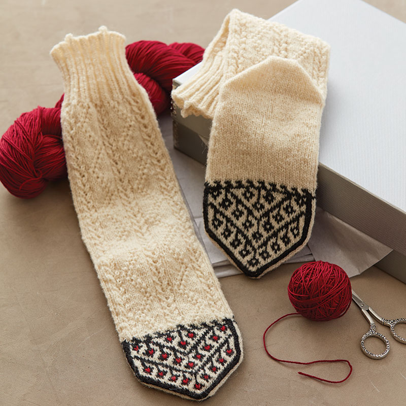 Vicki Square's delightful socks are based on Kurdish socks purchased by Barb Sobkoviak in a small shop in Northern Iraq. Photos by George Boe.