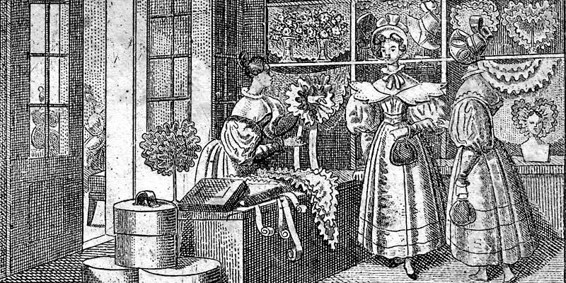 Stealing lace: Lace shop. Lithograph by unknown artist. 1835. Collection of G. & C. Franke. Photograph courtesy of Wikimedia Commons; (PD–US).