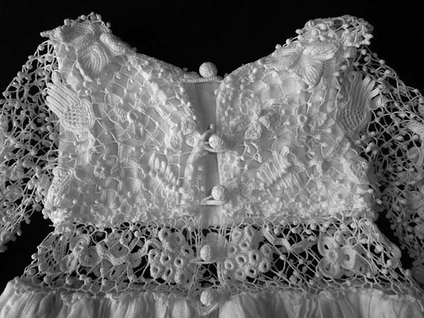 The back of Máire Treanor's family christening robe, showing the lace buttons. Photo courtesy of Máire Treanor.