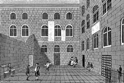 Newgate Prison's inner court. Eighteenth century. From a contemporary print. Wellcome Images, a website operated by Wellcome Trust, a global charitable foundation based in the United Kingdom; http://wellcomeimages.org. Photograph courtesy of Wikimedia Commons; (PD–1923).