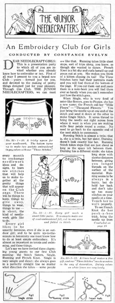 Page from the January 1933 issue of Needlecraft —The Home Arts Magazine, with The Junior Needlecrafters column. Collection of PieceWork.