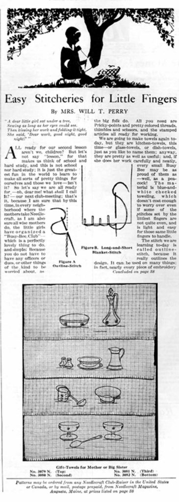 """First page of the """"Easy Stitcheries for Little Fingers"""" column in the October 1926 issue of Needlecraft Magazine. The column contains the second of a series of lessons for young stitchers. Readers could purchase the patterns as hot-iron transfers for ten cents or stamped on toweling for thirty cents from Needlecraft. Collection of PieceWork."""