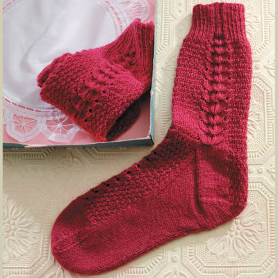 The French Sock was a children's pattern in the original Weldon's; Nancy has upsized it for a woman, while otherwise retaining the original design. This sock features a French Heel and a Flat Toe.
