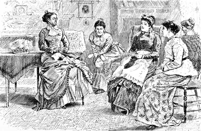 Women's Knitting Circle--Victorian Engraving Photo by CatLane/Getty Images