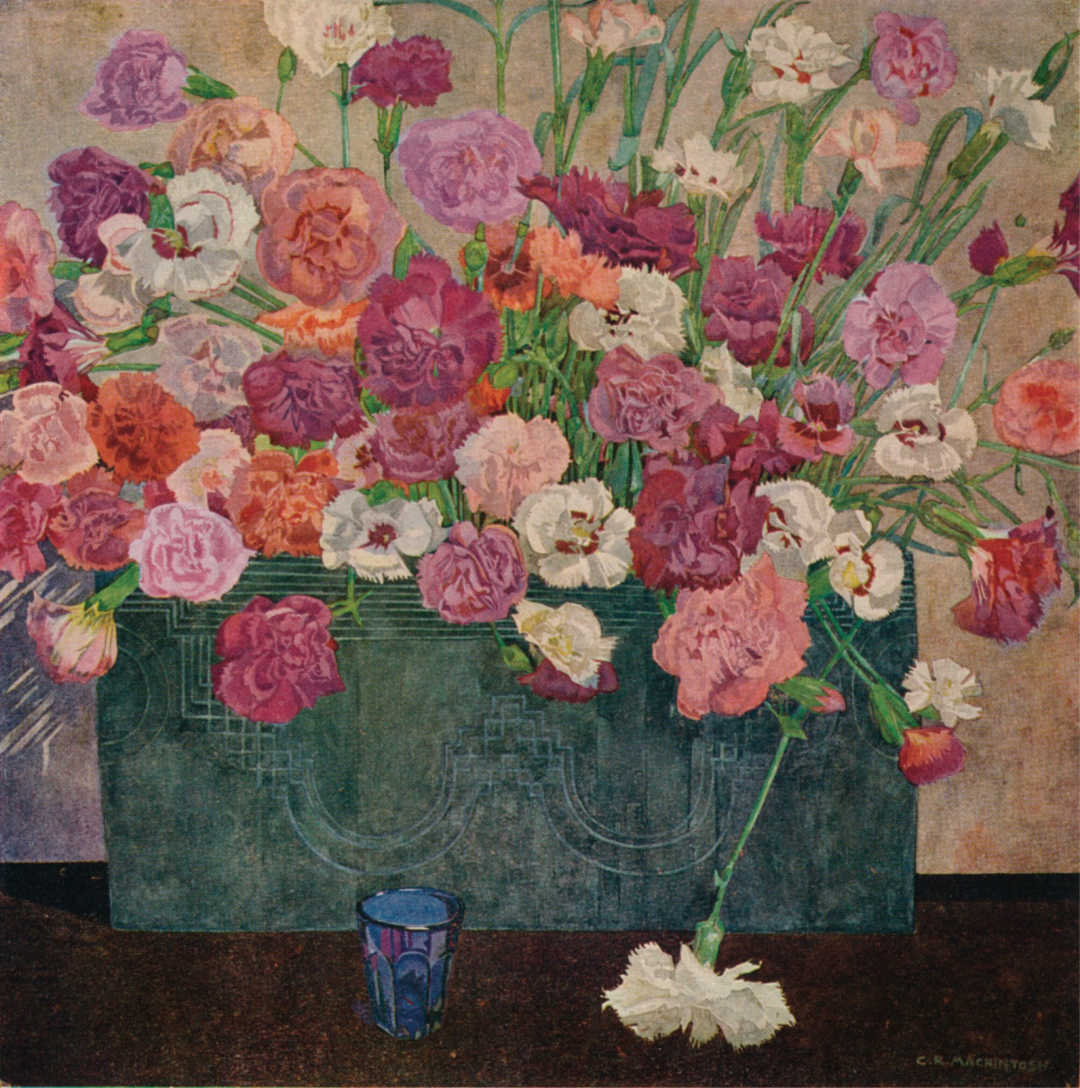 Pinks by Charles Mackintosh, painted around 1902. Encouraged by his garden-loving father, Charles drew flowers and plants all his life.   Photo by The Print Collector/Getty Images