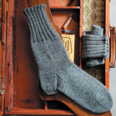 """This handsome men's sock, with the cozy and inviting name """"Plain Winter Sock,"""" uses a Dutch Heel and Wide Toe."""