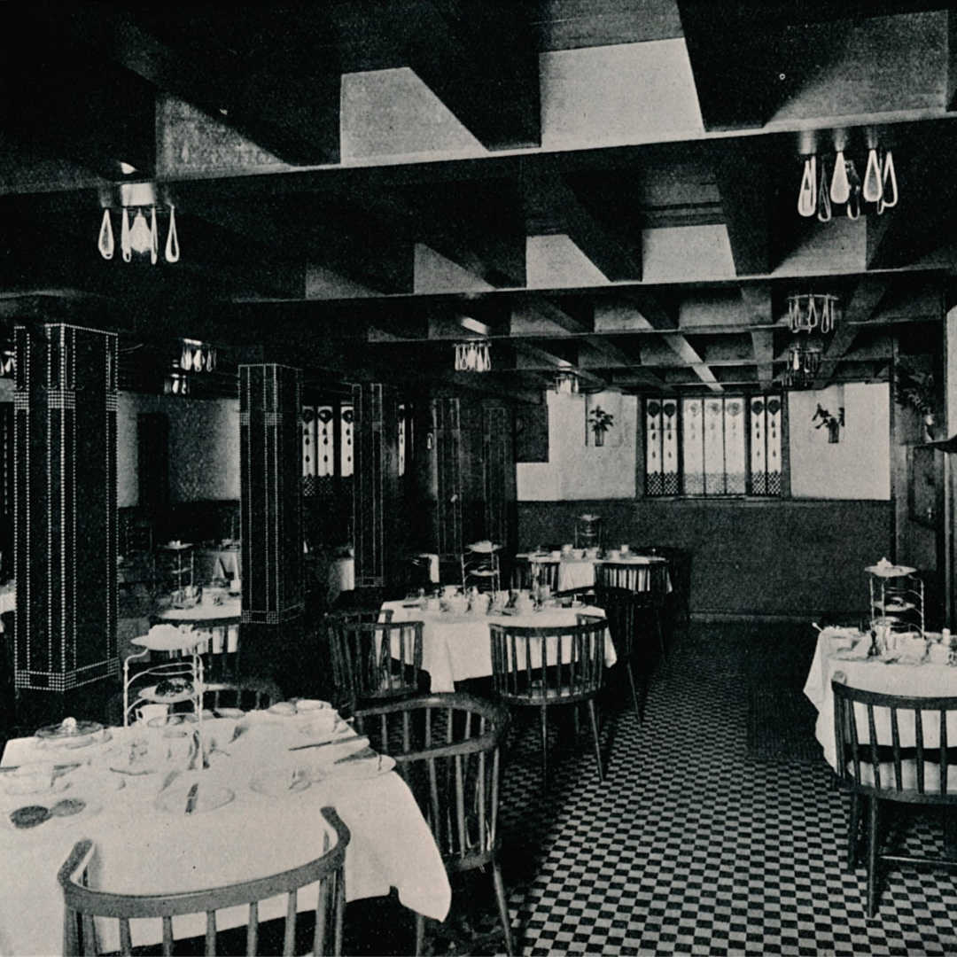 The Mackintosh-designed interior of Miss Cranston's Tea House on Argyll Street, around 1906. | Photo by The Print Collector/Getty Images