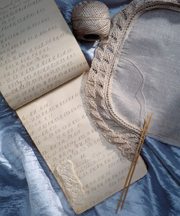 Re-create the Delineator Leaf Lace Edging knitting pattern from a 110-year-old notebook from Miss. Blanche Beau.