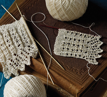 Create knitted lace edgings based on Rose Wilder Lane's Woman's Day Book of American Needlework.