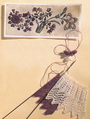 Knitted lace, fluted design with eyelets project.