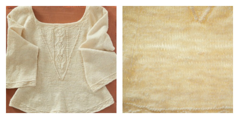 Left, the sweater laid flat. Right, the sweater photographed on top of a light box to show yarn consistency.